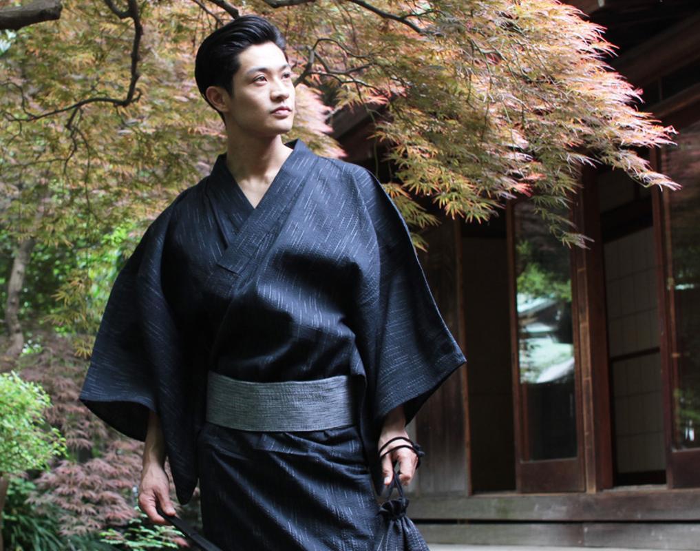 Мужчины в японском стиле Кимоно халат юката Длинные пижамы хлопка Robe дышащий лето
