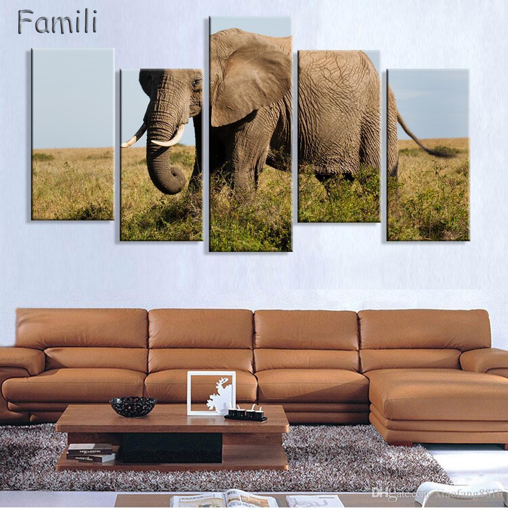 5 piezas de decoración del hogar salón impresión de la lona pintura del elefante lienzo imagen del arte de la pared pintura moderna - gran lienzo sin marco