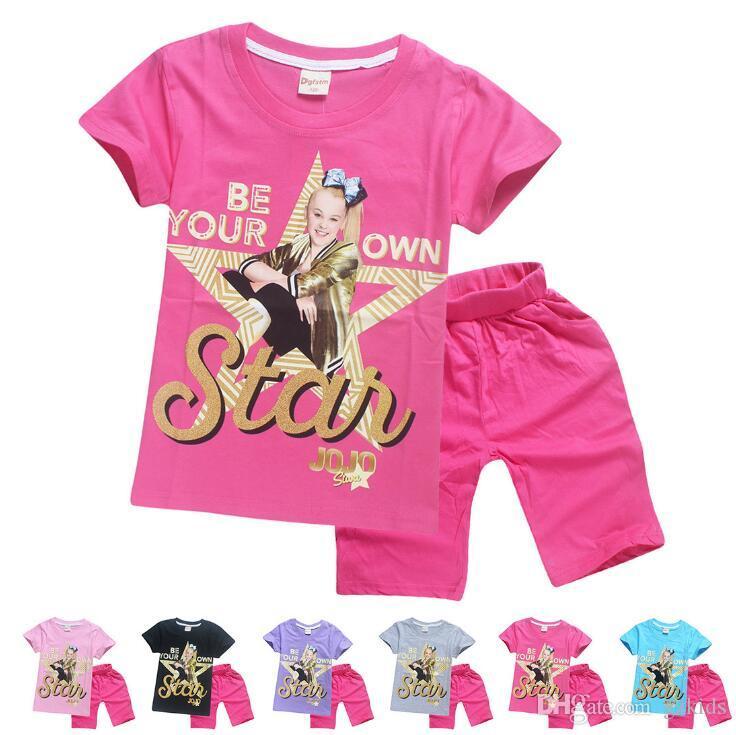 Jojo Siwa Children's Home Suit T-shirts And Shorts Pants Kids Tracksuits Children Sport Suit 2 Pcs/Sets