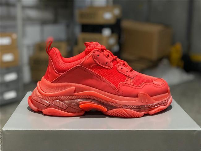 Balenciaga Shoes [Mit box] Plattform-beiläufige Schuh-Mann-Grün Triple S Sneaker Frauen Leder Freizeitschuhe Low Top Lace-Up beiläufige flache Schuhe Rotunterseiten kanye