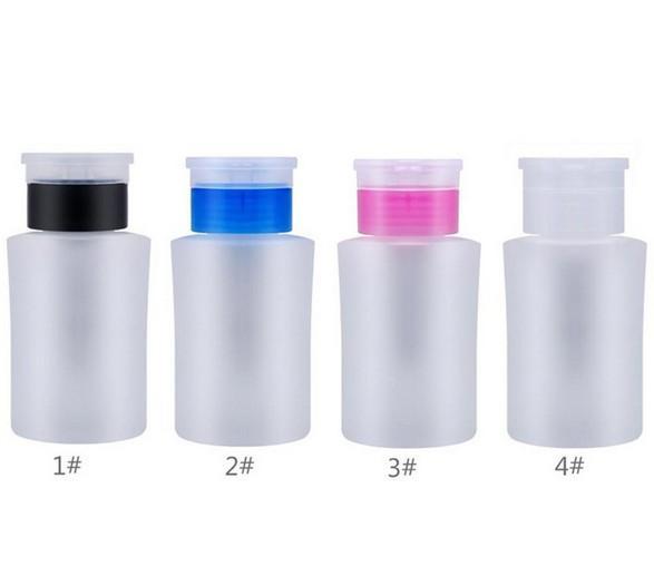 160ML الصيدلي مضخة زجاجة، مزيل طلاء الأظافر منظف الصيدلي مسمار الفن أداة، 2 الألوان البلاستيك السائل الحاويات مع فليب الأعلى كاب