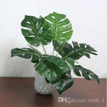 Fake Faux Artificiale 9-Leaf Pianta artificiale Monstera Branch Palm Fern Turtle Leaf per la decorazione domestica di nozze