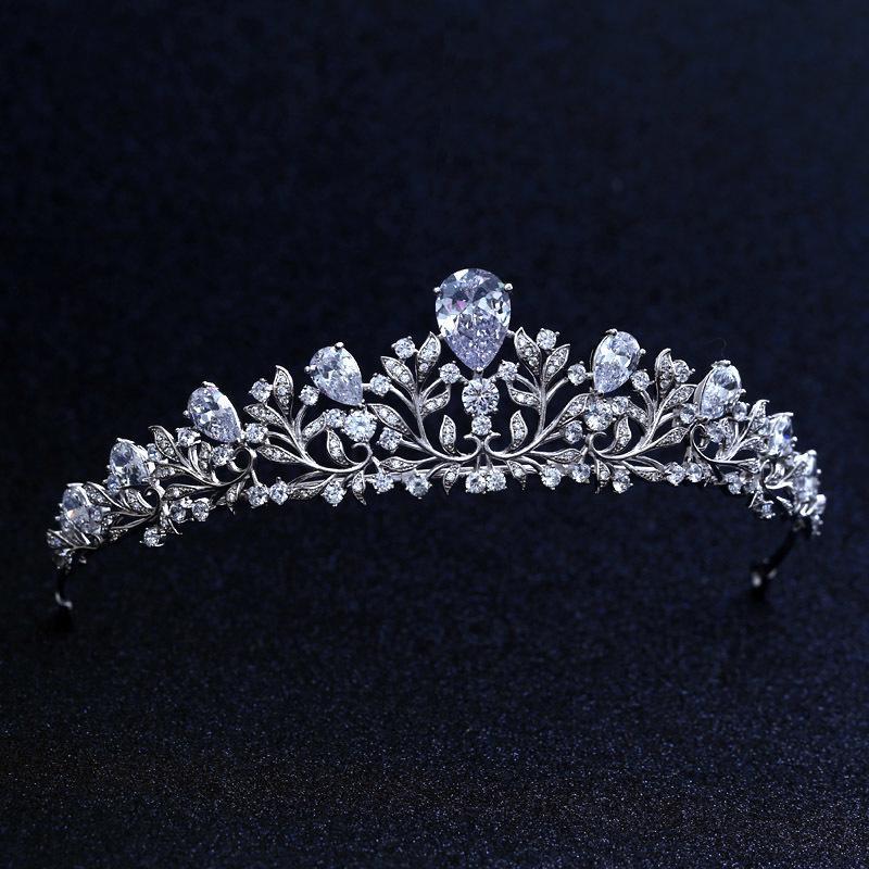 Top qualité de mariée demoiselle d'honneur Fleur zircons tiare plaqué or blanc zircon filles couronne / serre-tête pour le bal Y200727