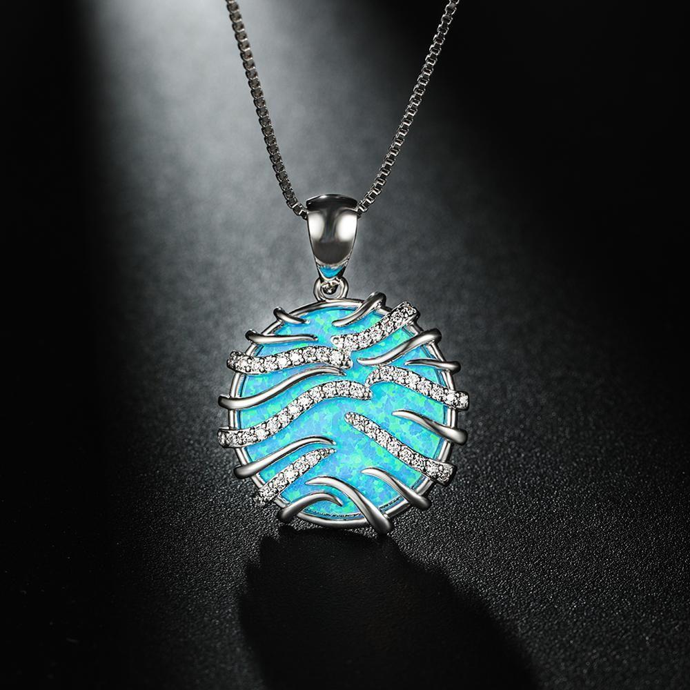 Joyería RongXing Azul Blanco ópalo de fuego Collar redondo de piedra grande de la joyería 925 de plata de Rose la boda del oro collares para las mujeres