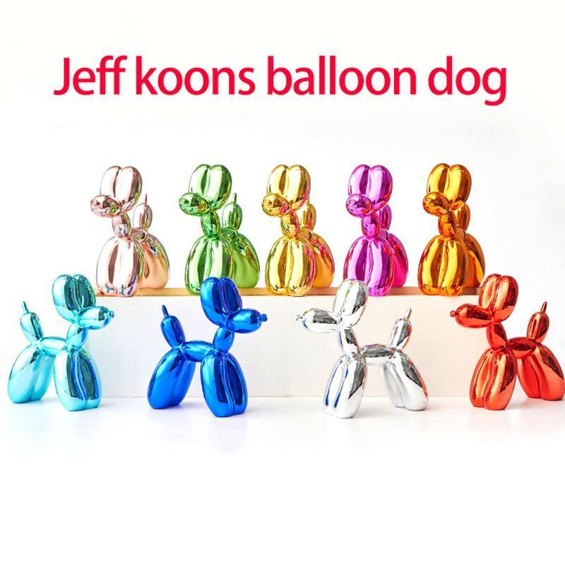 Placcatura Jeff Koons Lucido Palloncini Cane Statua Di Arte Del Cane Scultura Animali Figurine Resina Artigianato Decorazione Della Casa Accessori