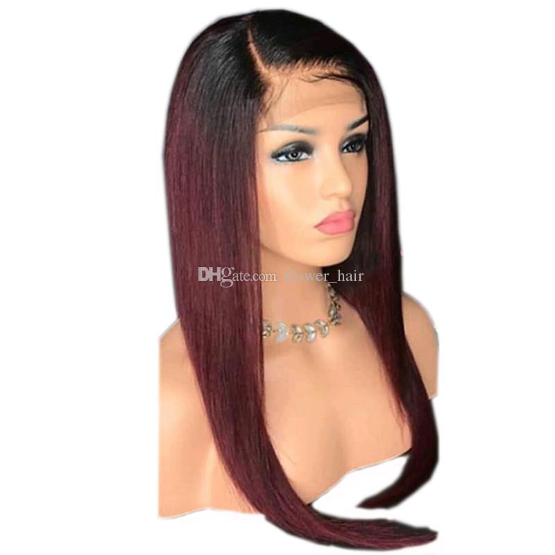 Ombre Farbe T1b 99J Blonde Spitzefront Menschliches Haar Perücken Dunkle Wurzeln Brasilianisches Reines Haar Seidige Gerade Volle Spitzeperücken Vor Gezupft