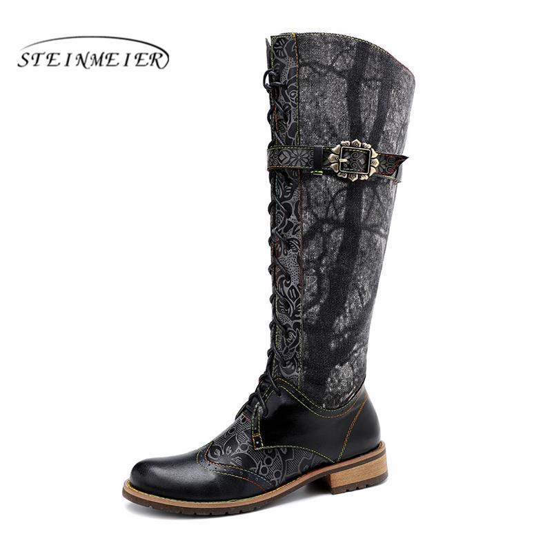 Stivali da donna invernali in vera pelle di cuoio della caviglia stivali da moto tallone spesso brevi scarpe tacco spessi 2020 nero