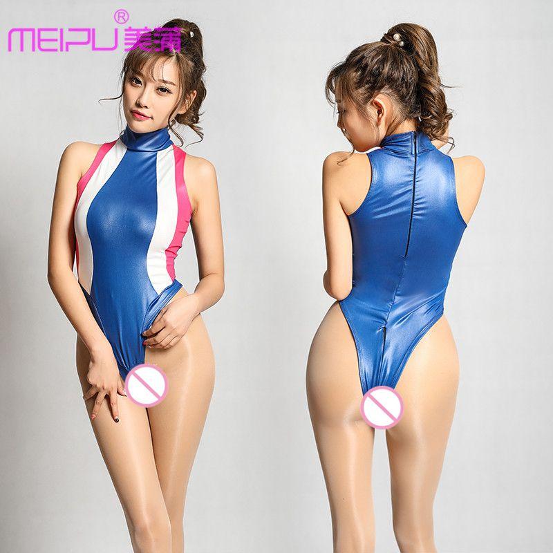Sexy Frauen Patchwork Ansatz Halter High Cut Body Zipper geöffnete Gabelungs Kunstleder Shiny Badeanzug Body Suit Sexy Wear F26 LY191222
