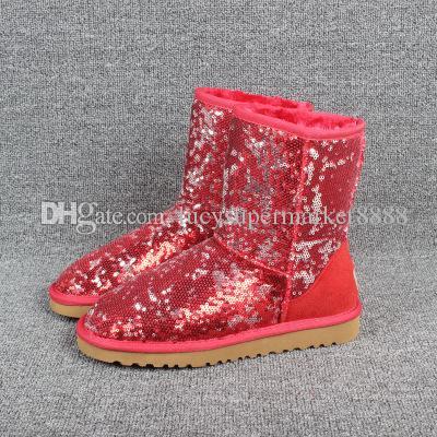 Weihnachten australia Classic Short Sparkle Kurzbögen Stiefel Designer Frauen-Winter-Schnee-Aufladungen Sequined PINK Sprunggelenk Knie Bow Bailey Stiefel 35-41