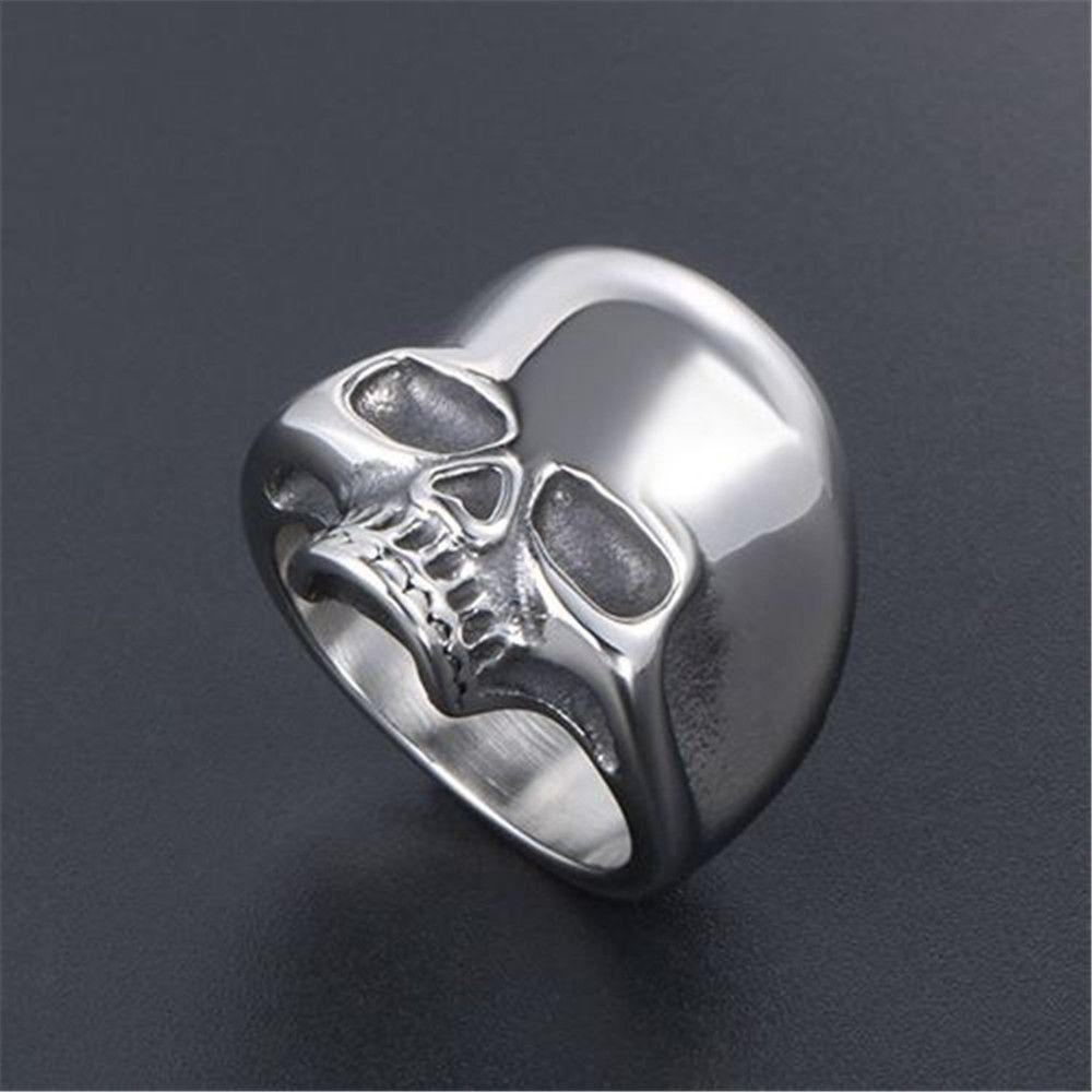 Joyería del anillo del cráneo de los anillos de acero inoxidable gótico del hueso del cráneo del motorista dedo de los hombres de la vendimia para hombre Accesorios de alta calidad de 885 Adornos