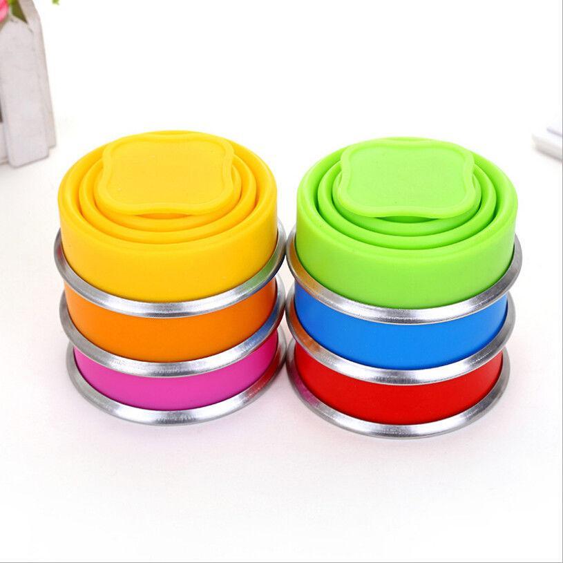 Del color del caramelo de silicona plegable retráctil Copa viaja al aire libre telescópicas Copas portátil de bebida Titular de agua plegables y tazas