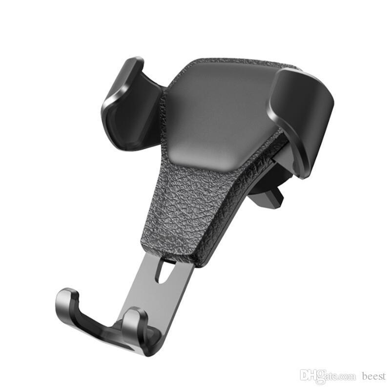 가죽 질감 자동차 전화 스탠드 홀더 360 회전 공기 환풍 클립 마운트 - 자동차 스탠드 커버 화웨이 아이폰 XS S8 S9 용