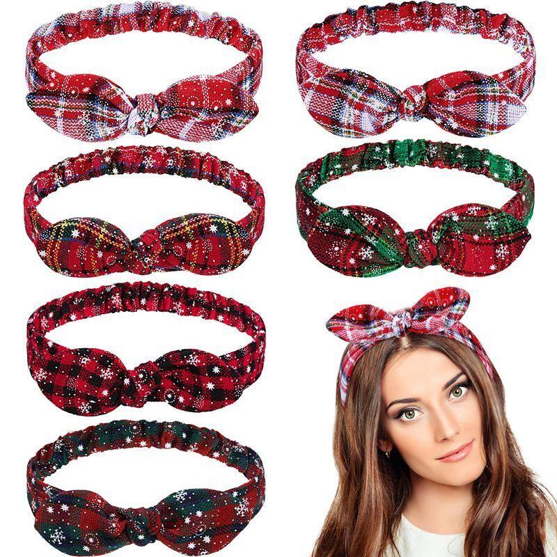 Bandeau élastique de Noël pour Femmes Filles bandes élastiques cheveux Top noueuse Plaid Bow Bandeaux Xmas Party Couvre-chef