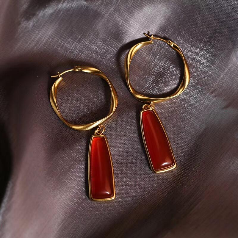Высокое качество круглая форма падение серьги с природой красный агат для женщин ювелирные изделия подарок PS6685A