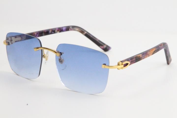 2020 도매 판매 퍼플 판자 무테 선글라스 8300816 대형 광장 선글라스 클래식 조종사 금속 프레임 간단한 레저 안경 핫