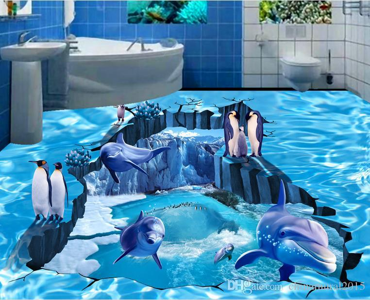 PVC Self Adhesive Waterproof 3D Floor Murals Ocean Dolphin Floor Design Photo Wall Paper Sticker Bathroom Kitchen Home Decor Papel De Parede