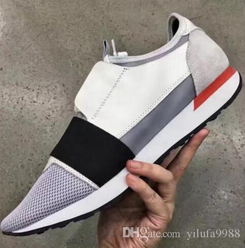 Новый человек женщина дизайнер кроссовки из натуральной кожи сетки Повседневная обувь острым носом Бегун обувь тренеры с коробкой