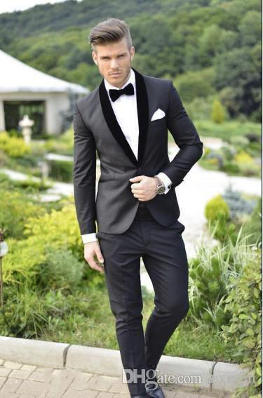 Velvet Shawl Lapel Handsome Black Men Suits Wedding Slim Fit Tuxedos Groom 2 Piece Jacket+Pants Best Men Suits Prom