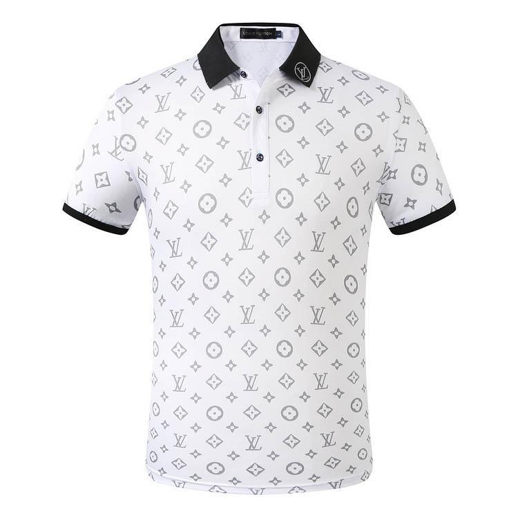 19ss anni italiani disegno luxuryt classico della moda nuova camicia degli uomini di polo a maniche corte da uomo lettere ricamo camicia di polo M-3XL