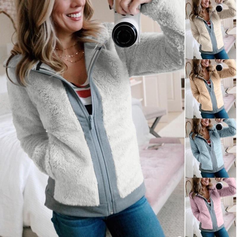 Plush Coat Zipper Jacket Color Matching Loose Knits Top Clothing Women Winter Apparel Keep Warm Outdoor 32aj H1