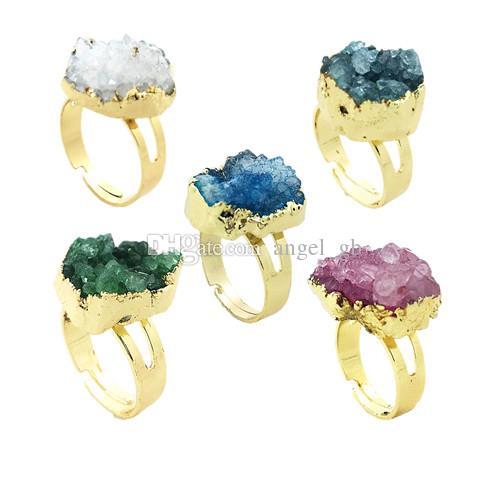 Colori misti Crystal Druzy Cluster Ring - Oro Druzy Raw Gemstone Ruvido Naturale Glittery Irregolare Anelli regolabili Healing Stone Quartz