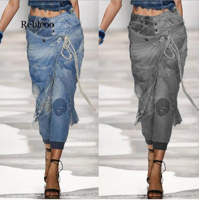 Jeans Woman 2020 New Fashion Personality Broken Hole Washed Bleached Vintage Low Waist Plus Size Pencil Pants