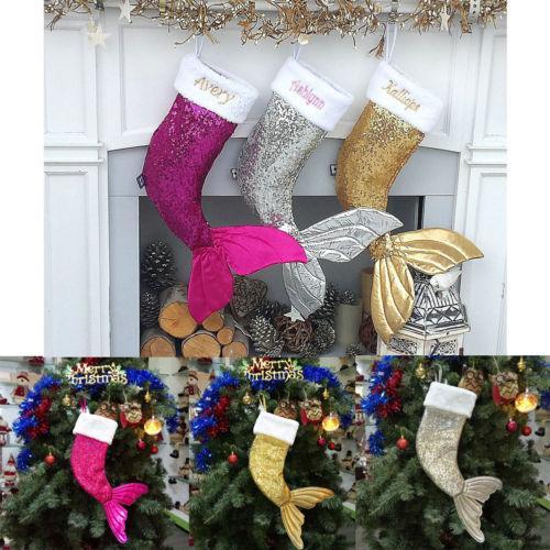 18 « » enfants sirène Paillettes Noël Stocking Sac Père Noël Cadeaux de Noël Les HOT