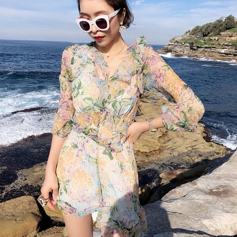 100% Silk Böhmen-Art-schönen Sommer-Frauen-Overall-Blumen-Druck-reizvoller Rüsche-Spielanzug