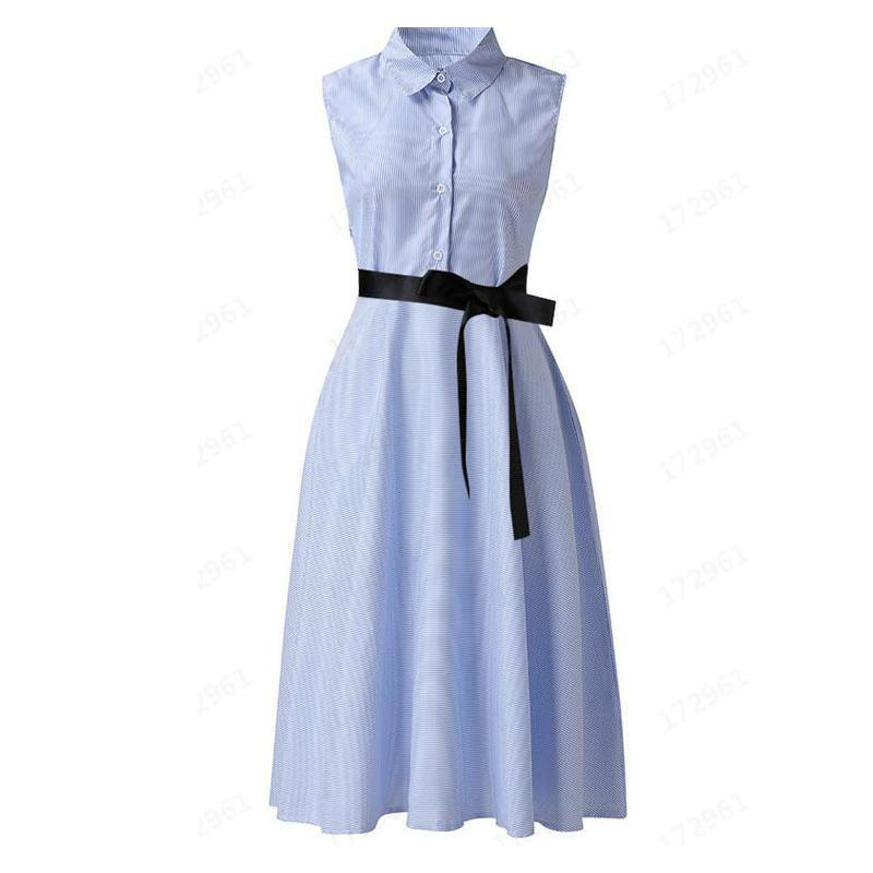 Женщины мод нагрудных шей Полосатых рукава лето вскользь Узелок A-Line платье