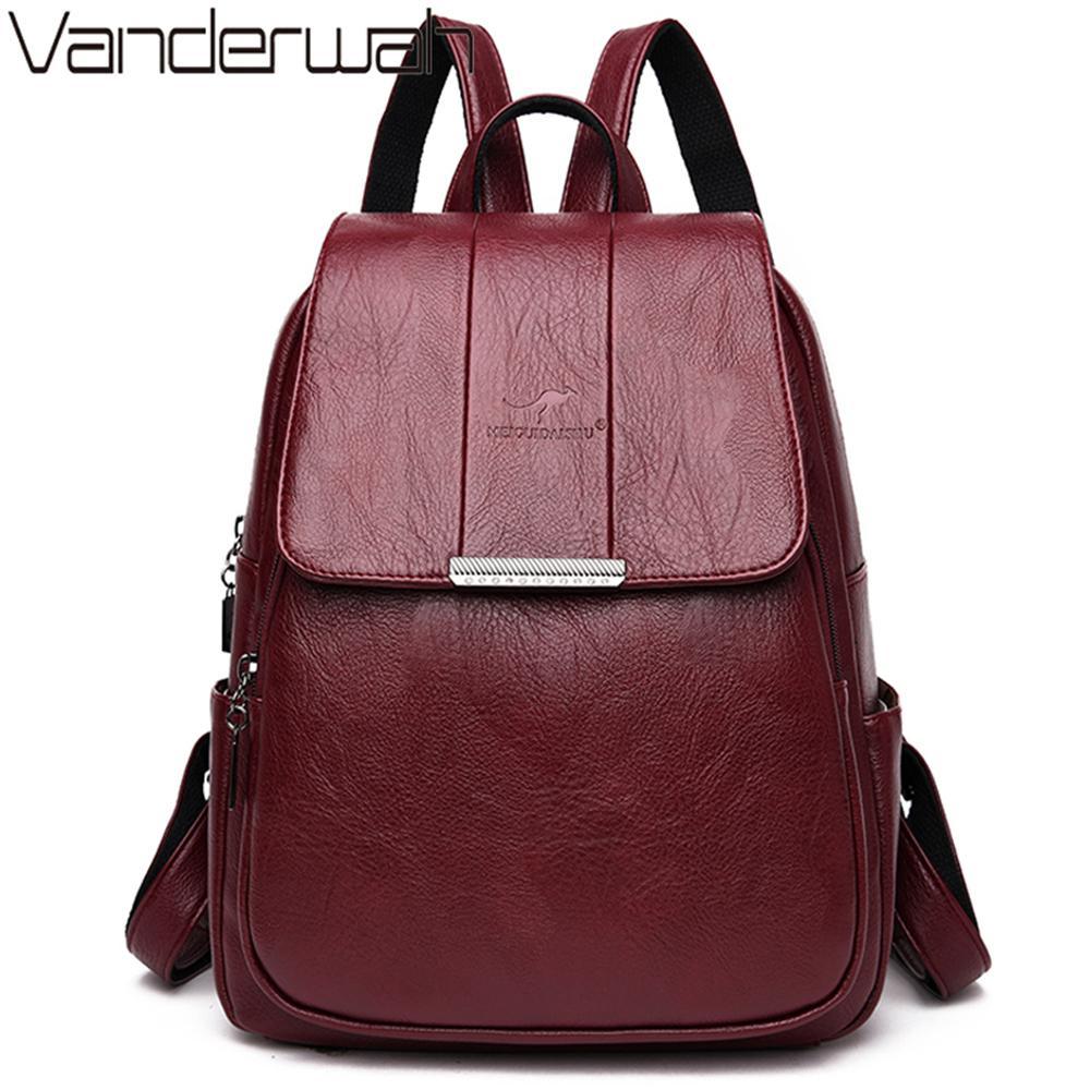 Couro Sac A Dos Femme Hot Women Backpack Feminino de alta qualidade Bagpack Para Mulheres Moda escola Mochilas Bolsa Feminina T200428
