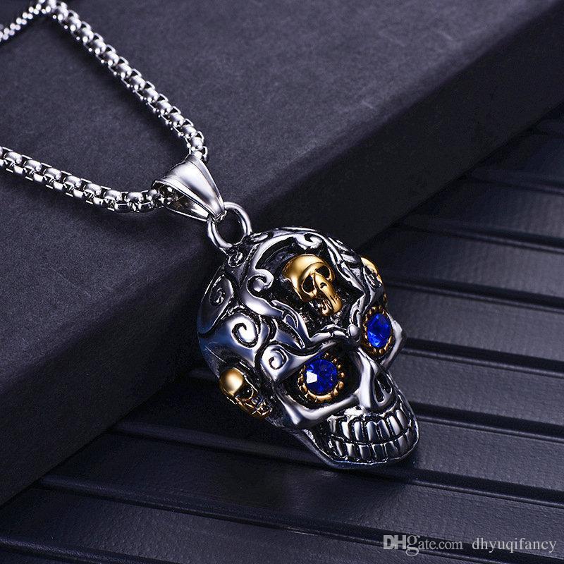 Vendita calda in acciaio inox argento cranio collana pendente uomo punk moto collane pendenti oro hip-hop maschera gioielli