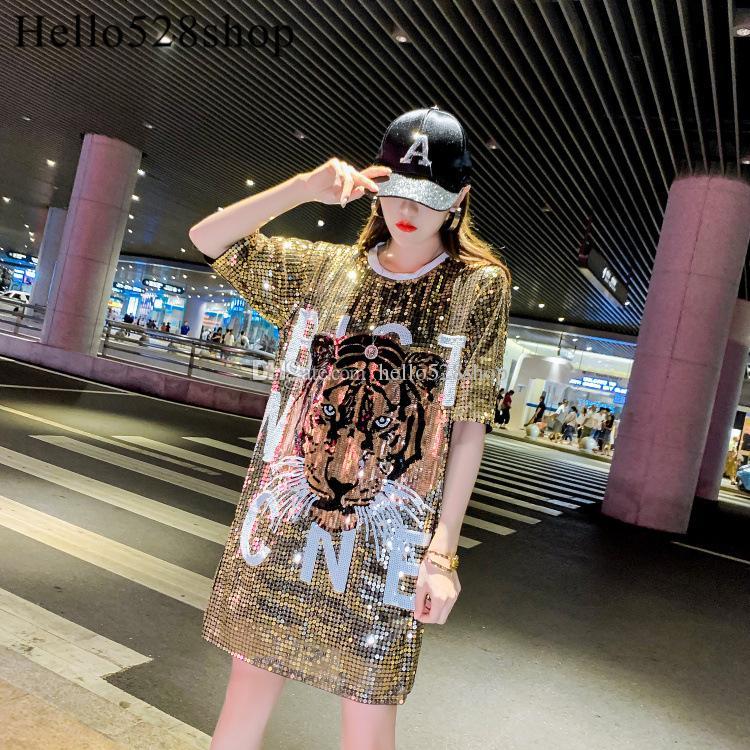 Hello528shop 2019 Frauen-T-Shirts Kleid lose Tiger-Kopf-Muster Shirts Pailletten Glänzende Designer Tops Damen Nachtclub