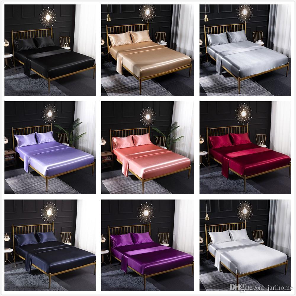 Jarl Início Roupa de cama conjunto de 4 Silk tecido de cetim acolchoado cama com folhas de colchão Pad Pillowcase adequados para 6 pés Quadro Hotel