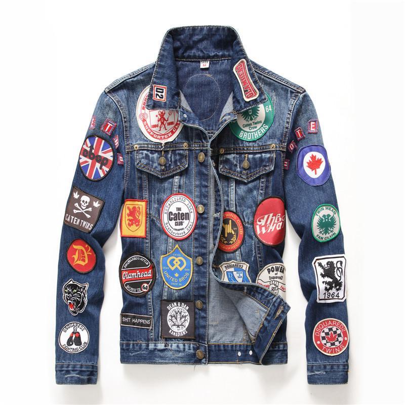Hip Hop Mens jaquetas e casacos Vintage emblema Patches pintado azul Denim Jacket moda Magro Patchwork manga comprida Coats DS50550 T200502