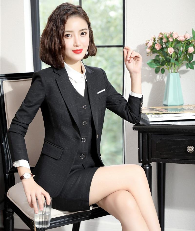 Formal Ladies Black Blazers Women Business Suits 3 Piece Vest, Skirt and Jacket Sets Office Uniform Styles High Quality