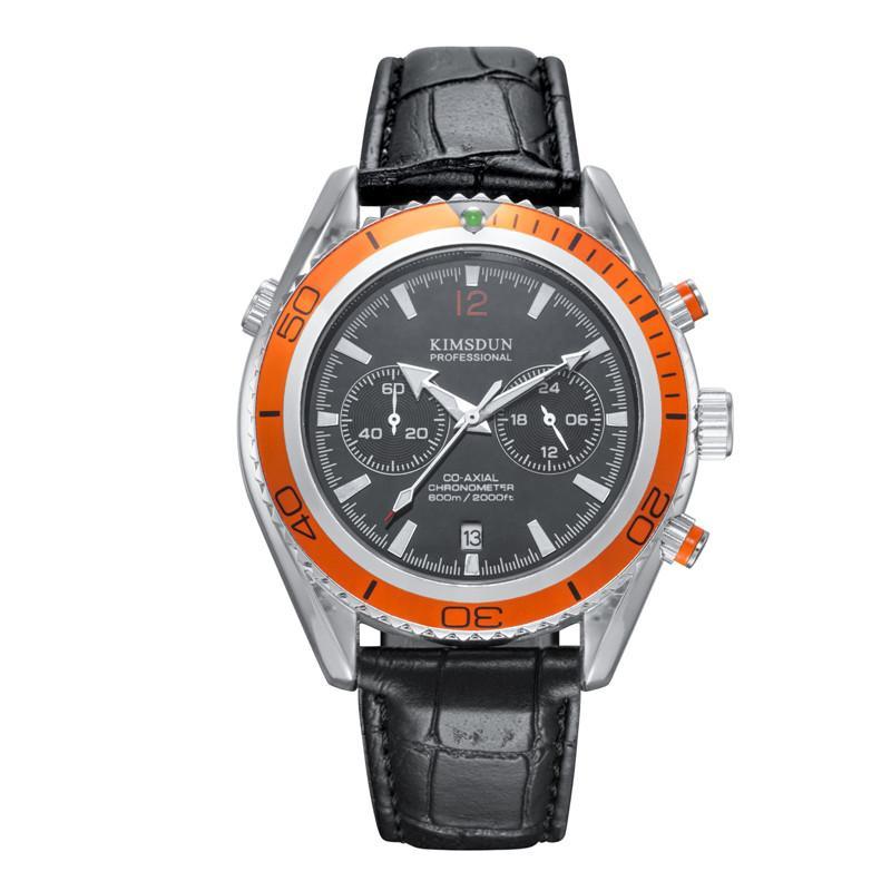 KIMSDUN Moda multifunções Sport Watch Men impermeável relógio de quartzo de couro alça de pulso Relógios Relógio Masculino