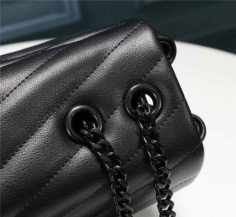 Y sint L 467072 DV707 sacs crossbody cuir véritable doux ruban noir sacs à bandoulière chaîne d'or fourre-tout sacs à main d'embrayage sacs à main