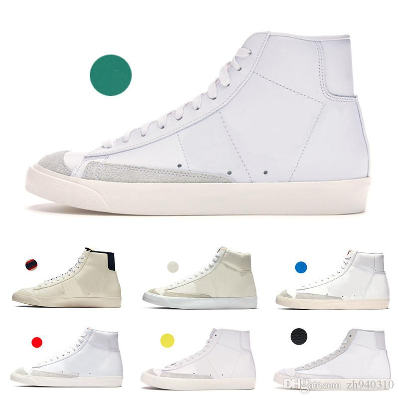 2019 Blazer Mid 77 Shoes Lucid Green Sail White Chicago and Toronto Canvas Pacific Habanero Red shoes Size 36-44