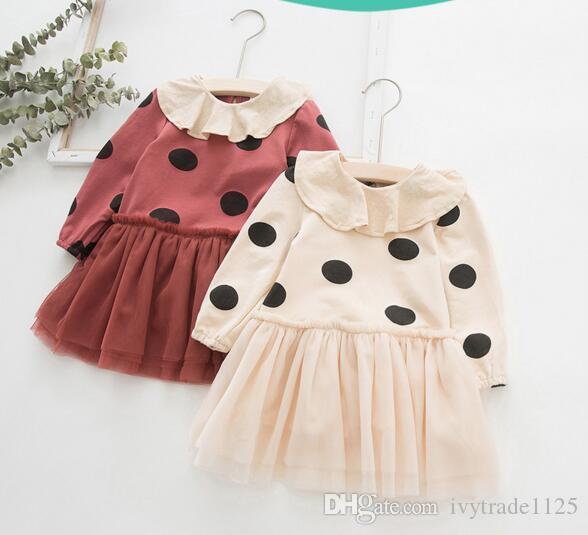 طفل الفتيات ملابس الأميرة اللباس طويلة الأكمام الحيوانات الأليفة عموم بولك النقاط شبكة المرقعة تصميم طفل أطفال الربيع الملابس اللباس