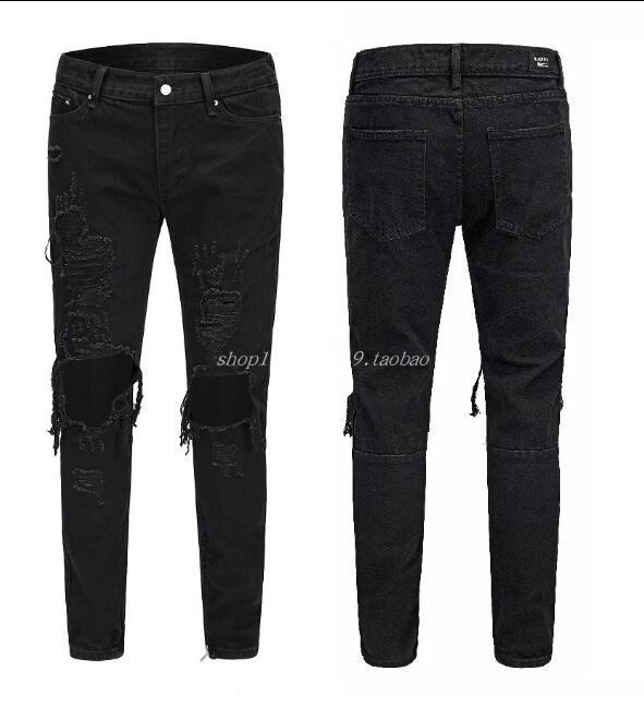 Хорошее качество Черные брюки для мужчин Хип-хоп Рок Дыр рваные джинсы Байкер Slim Fit Zipper Жан брюки джинсовые брюки
