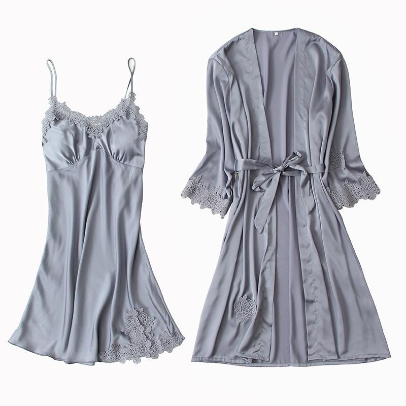 Çin Stil Gelin Düğün Robe Saten pijamalar Ev Giyim Seksi 2PCS NightyRobe Seti Gecelik Dantel Kimono Bornoz Önlük