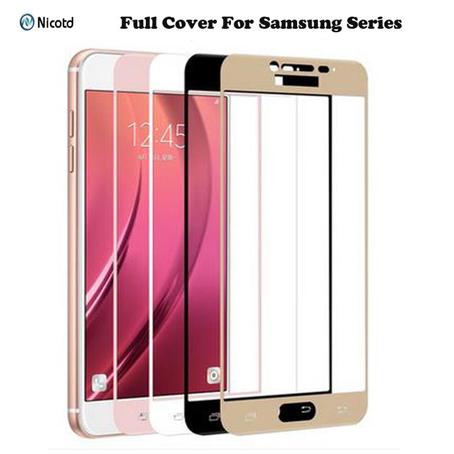 Samsung Galaxy S6, S7 J2 J5 J7 Prime Not 4 Not 5 Galaxy A3 A5, A7 2016 2017 Ekran Koruyucu Film için tam Kapak temperli cam