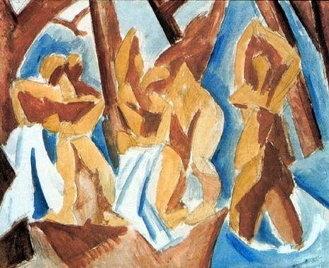 Pablo Picasso bañistas pintura al óleo clásica en el bosque Baigneuses dans une Foret 100% hecho a mano por experimentados Pintor Picasso062