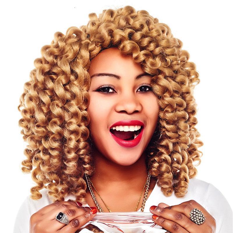 6Pcs Full Head Short Wand Curl Spiral Bouncy Jumpy Crochet Hair Afro Small Curls African Hair Extensions for Black Women Xtrend Hair