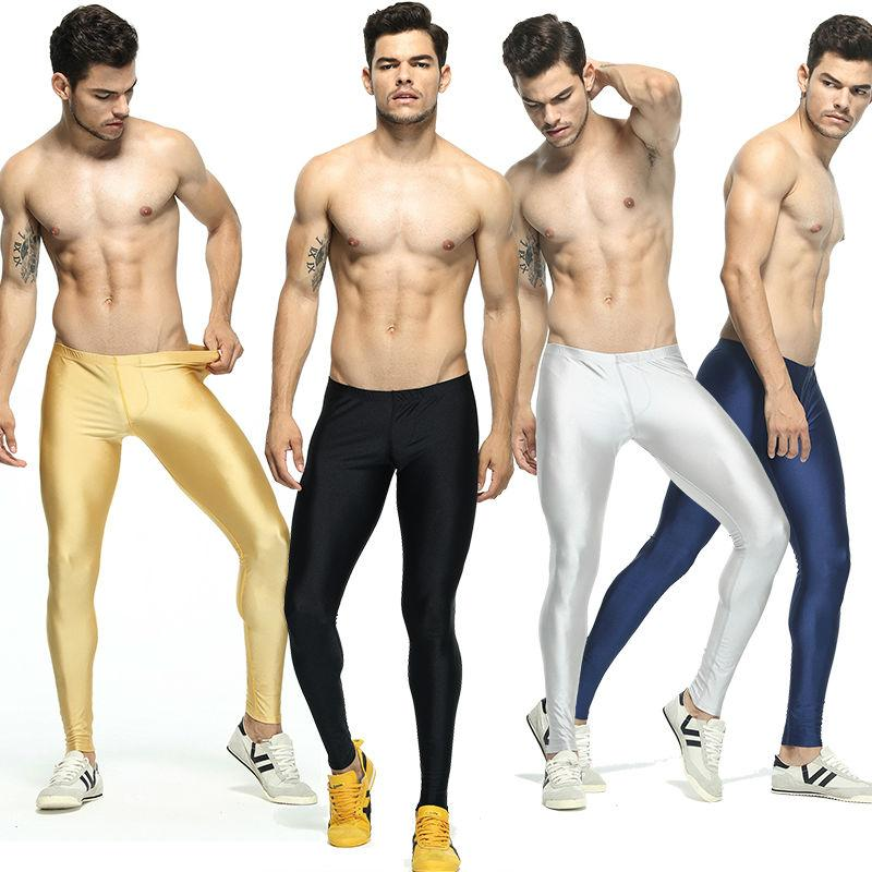 Men's Solid Color Running Tights Elastic Skinny Workout Leggings Basketball Compression Pants Men Leggins Run Fitness Clothing