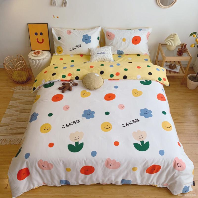 Sommer neue Baumwollkarikatur Eltern-Kind-Serie aus reiner Baumwolle Bettwäsche Set Einzelstudentenwohnheim Wohnkultur