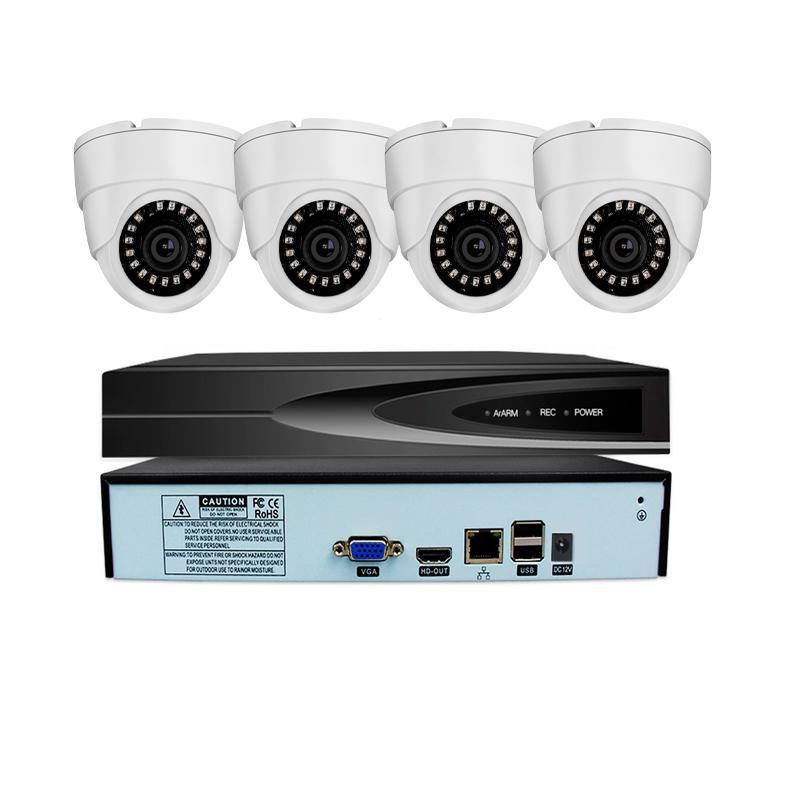 نظام الأمن 4CH الترا HD POE شبكة الفيديو على H.265 داخلي + NVR مع 4X 3MP IR للرؤية الليلية كاميرا IP داخلي