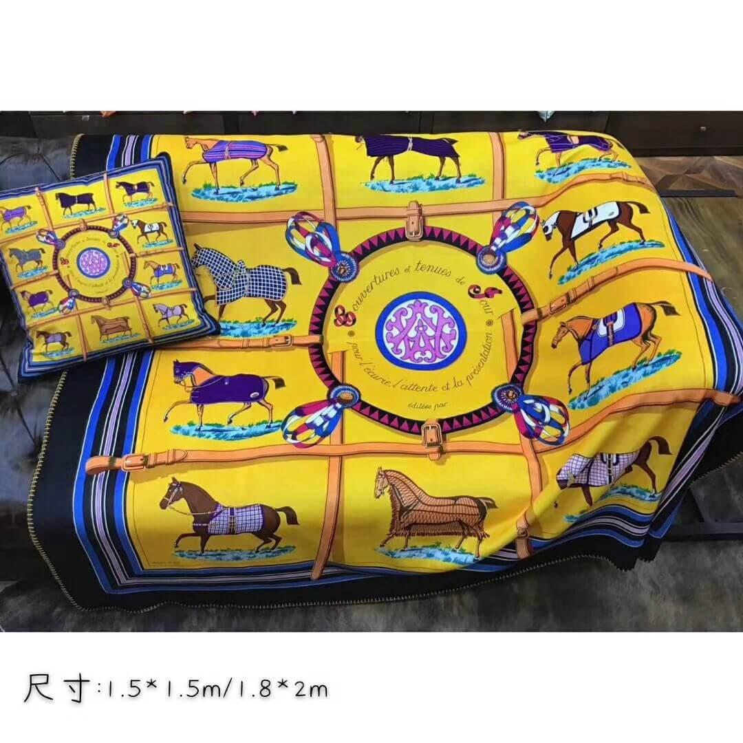 Espessamento Marca H cavalo ouro 150x150cm manta para sofá cama de luxo 3D impressão padrão cadeia de transporte e sinalização H quente cobertor xale