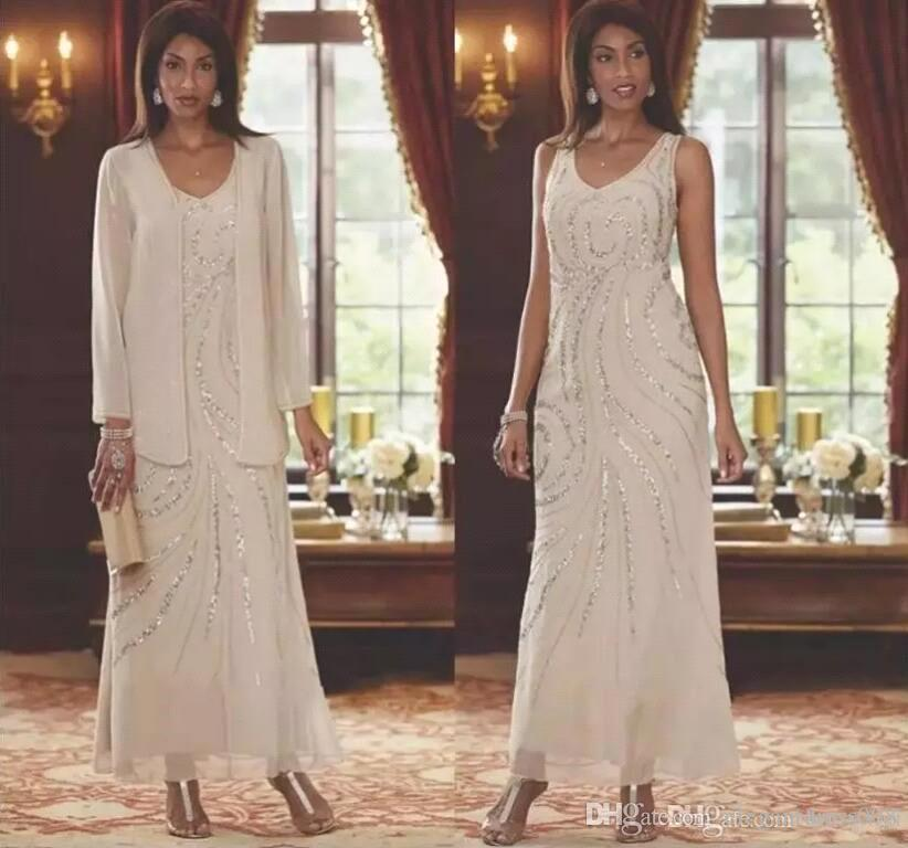 V elegante Long Neck Vestidos Formais 2019 Mãe de vestidos de noiva com vestido Jackets lantejoulas Chaussures Chiffon da Mãe Custom Made
