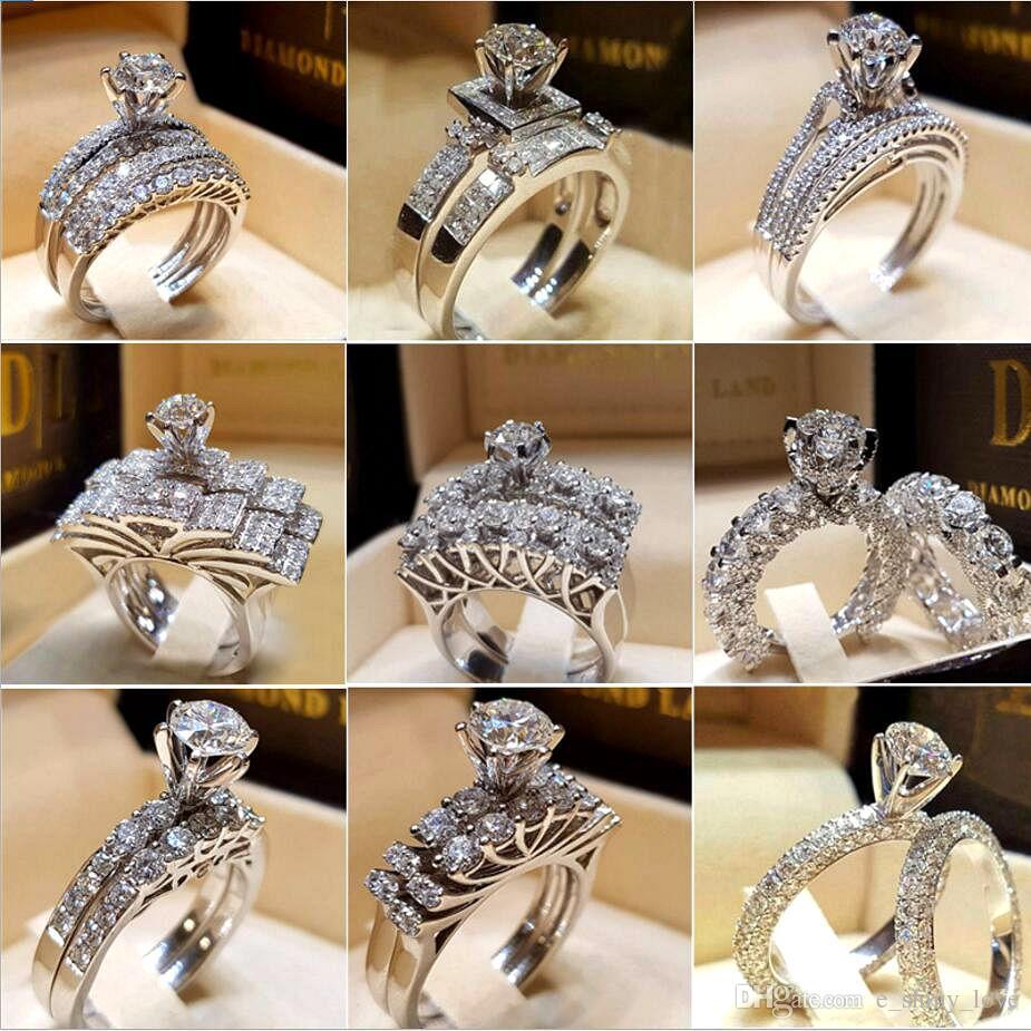30 pçs / lote misturado cristal branco anel redondo conjunto marca prometa de luxo anel de noivado de prata anéis de casamento nupcial para mulher